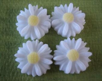 4PCS - Daisy Flower Cabochons - 12mm - White Daisy Cabochons