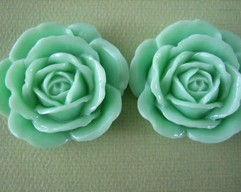 2PCS - Mint Green Rose Cabochons - 38mm Shiny Finish - Great for Rings and Necklaces - Cabochons by ZARDENIA