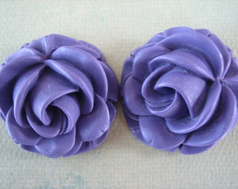 2PCS - Violet - Rose Cabochons - 37mm Matte Finish - Great for Rings and Necklaces - Cabochons by ZARDENIA