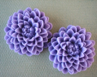 2PCS - Lilac - Chrysanthemum Cabochons - 32mm Matte Finish - Great for Rings and Necklaces - Cabochons by ZARDENIA