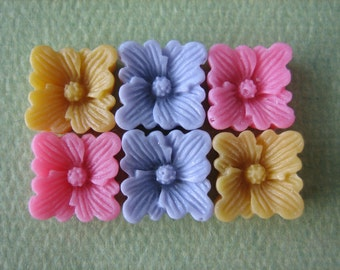 6PCS - Buttercup Resin Flower Cabochons - 12mm - Matte Finish - Pink, Purple and Yellow- Cabochons by ZARDENIA