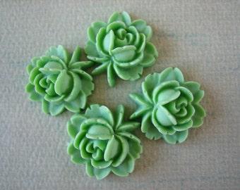 4PCS Green Rose Flower Cabochons,  Resin Rose Cabs, Green Rose Cabochons,17x18mm Cabochons, Diy Crafts, Diy Supplies, Zardenia