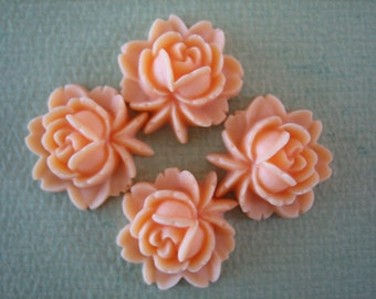 4PCS - Rose Flower Cabochons - Resin - Salmon - 17x18mm Cabochons by ZARDENIA