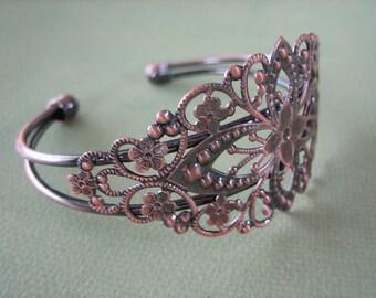 1PC - Copper Diamond Filigree Cuff Bracelet - Jewelry Findings by ZARDENIA