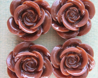 4PCS - Brown - Resin Rose Flower Cabochons - 18mm - Shiny Finish - Cabochons by ZARDENIA