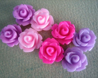 8PCS - Mini Rose Flower Cabochons - 10mm - Resin - Mixed Pinks and Purples - Cabochons by ZARDENIA