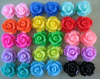 30PCS - Mini Rose Flower Cabochons - 10mm - Mixed Sampler Pack - Cabochons by ZARDENIA
