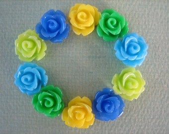 Mini Rose Flower Cabochons, 10mm Mini Roses, 10PCS, Resin Flower Cabs, Blues, Greens and Yellow Mix, Diy Jewelry, Zardenia