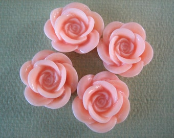 4PCS - Light Peach - Resin Rose Flower Cabochons - 18mm - Shiny Finish - Cabochons by ZARDENIA