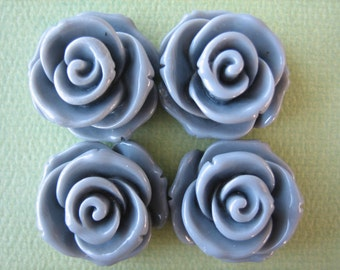4PCS - Rose Flower Cabochons - 24mm - Gray - Cabochons by ZARDENIA