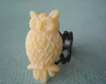 Yellow Owl Ring - Antique Brass Adjustable Filigree Ring - Free US Shipping - Jewelry by ZARDENIA