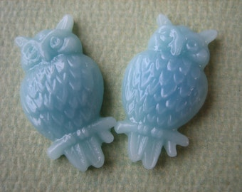 2PCS - Resin Owl Cabochons - Blue - 13x22mm - Shiny Finish - Jewelry Findings by ZARDENIA