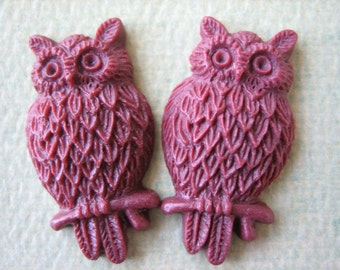 2PCS - Burgundy - Resin Owl Cabochons - 25mm Matte Finish - Jewelry Findings by ZARDENIA