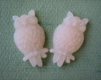 2PCS - Frosty Pink - Resin Owl Cabochons - 25mm Matte Finish - Jewelry Findings by ZARDENIA