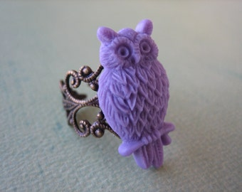 Lavender Owl Ring - Antique Brass Adjustable Filigree Ring - Free US Shipping - Jewelry by ZARDENIA