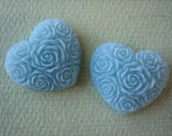 2PCS - Heart Flower Cabochons - Resin - Blue - 19x21mm - Cabochons by ZARDENIA