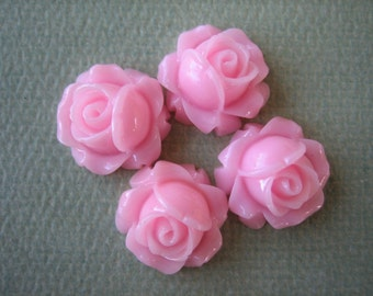4PCS - Cabbage Rose Flower Cabochons - 15mm - Resin - Pink - Findings by ZARDENIA