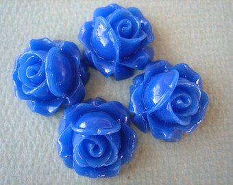 4PCS - Cabbage Rose Flower Cabochons - 15mm - Resin - Royal Blue - Findings by ZARDENIA