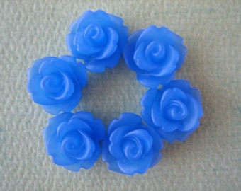 6PCS - Mini Rose Flower Cabochons - 10mm - Resin - Blue - Cabochons by ZARDENIA