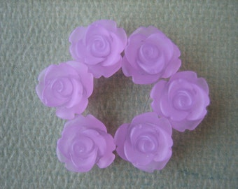 6PCS - Mini Rose Flower Cabochons - 10mm - Resin - Frosted Lavender - Cabochons by ZARDENIA