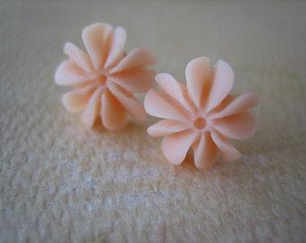 Mini Ruffle Earrings - Pale Peach - Free Standard US Shipping - Jewelry by ZARDENIA