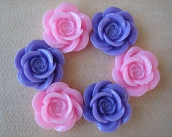 6PCS - Rose Flower Cabochons - Resin - 18mm - Shiny Finish - Pink and Purple - Findings by ZARDENIA