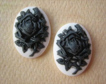 2PCS - Mini Oval Rose Cameos - White with Black Rose - 13x18mm - Cabochons by ZARDENIA