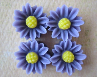 4PCS - Mini Daisy Flower Cabochons - Resin - 9mm - Lilac - Cabochons by ZARDENIA