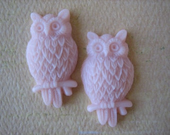 2PCS - Pale Pink - Resin Owl Cabochons - 25mm Matte Finish - Jewelry Findings by ZARDENIA