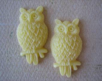 2PCS - Yellow - Resin Owl Cabochons - 25mm Matte Finish - Jewelry Findings by ZARDENIA