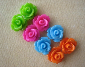 8PCS - Mini Rose Flower Cabochons - 10mm - Resin - Neon Lights - Cabochons by ZARDENIA