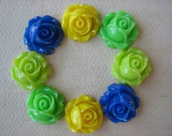 8PCS - Cabbage Rose Flower Cabochons - 15mm - Resin - Blue, Yellow and Greens - Findings by ZARDENIA