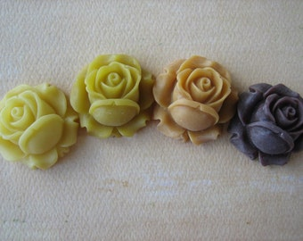 4PCS - Mixed Yellows and Brown - Resin Rose Flower Cabochons - 26mm - Matte Finish - Cabochons by ZARDENIA