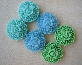 6PCS - Rosebud Flower Cabochons - Resin - Mint, Green and Blue - 17mm - Cabochons by ZARDENIA