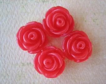 4PCS - Mini Cupcake Rose Flower Cabochons - 11mm - Resin - Red - Cabochons by ZARDENIA