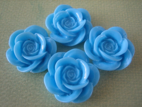 4PCS Light Blue Resin Rose Flower Cabochons - 18mm - Great for Rings and Bobby Pins - ZARDENIA
