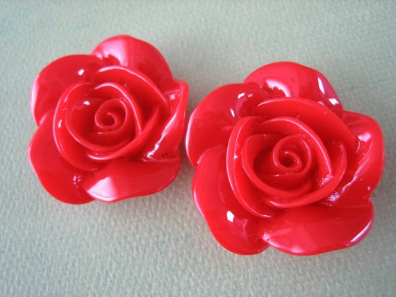 2PCS - New Spring Collection - 35mm - Red Rose Cabochon - Cabochons by ZARDENIA - Limited Edition