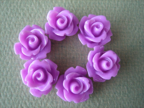 6PCS - Mini Rose Flower Cabochons - 10mm - Resin - Lavender  - Cabochons by ZARDENIA