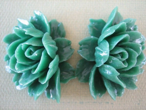2PCS Large Green Ruffle Roses, 45x35mm, Green Rose Cabochons, Large Rose Cabochons, Diy Jewelry Supplies by Zardenia