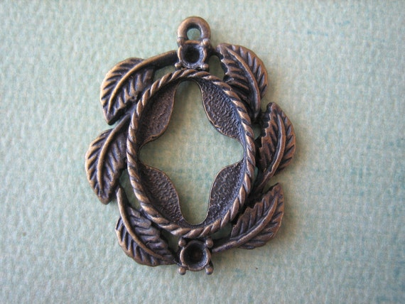 1PC - Antique Bronze Pendant Setting - 18x13mm - Jewelry Findings by ZARDENIA