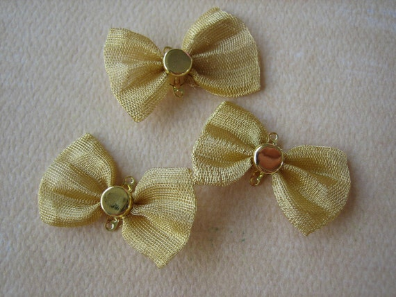 5PCS Gold Bow Tie Jewelry Connectors, 30mmx17mm, Diy Charms and Findings by Zardenia