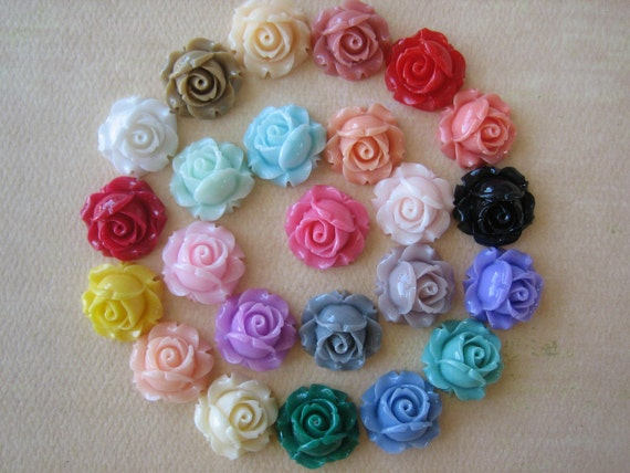 23PCS - Cabbage Rose Flower Cabochons - 15mm - Mixed Colors  - Findings by ZARDENIA