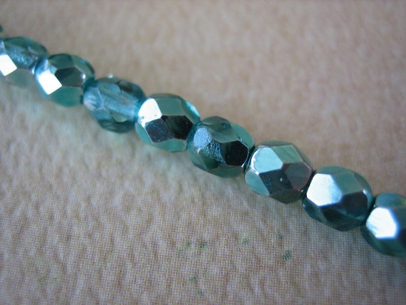 38PCS - Marine Green - Fire Polished Round - Czech Glass Beads - 4mm