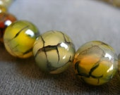 Sale 20pcs  12mm yellow green  grey black agate beads  Dragon Veins agate large beads