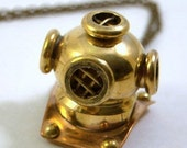 Diving Helmet Necklace - Steampunk Necklace - Vintage Style - Brass and Copper - Fathoms Below