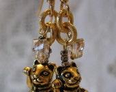 RESERVED MANEKI NEKO Crystal Butterfly Earrings Lucky Beckoning Cat