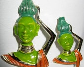 Vintage Tretchikoff Style Green Face Asian Lady Pins Enamelled 1960's