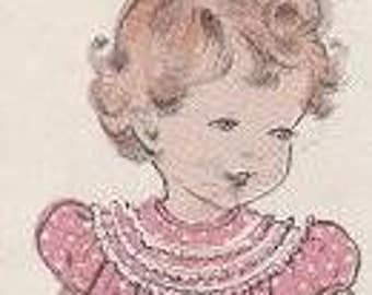 Vintage Pattern Classic 1950s Toddlers Full Yoked Dresses Quick & Easy Size 1i