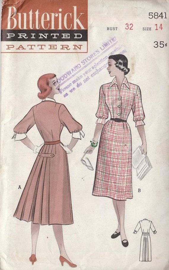 Vintage Pattern 1950's Teen Age Pleated Back Dress Casual