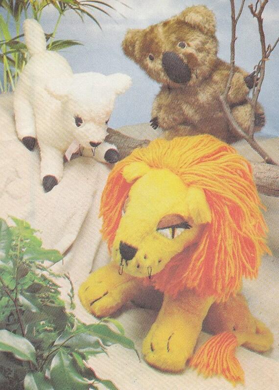 Vintage Pattern  LION, LAMB, KOALA Toys Retro 1976